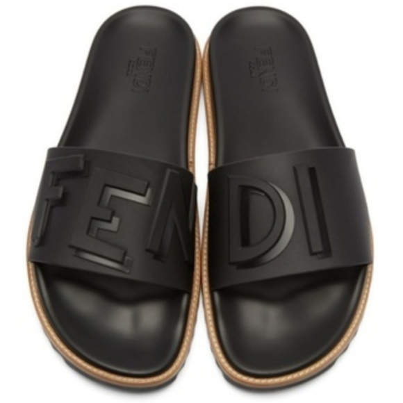 73fe8462 Mens Rubber Black Fendi Vocabulary Slides Sandals Boutique